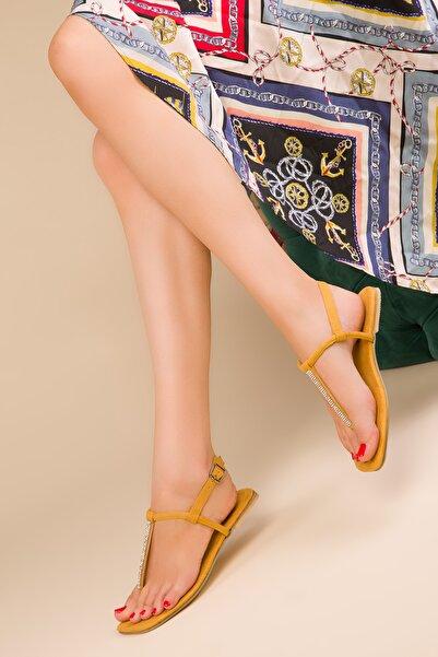 SOHO Hardal Sarı Suet Kadın Sandalet 14967