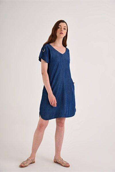 Helly Dark Blue Denim Elbise