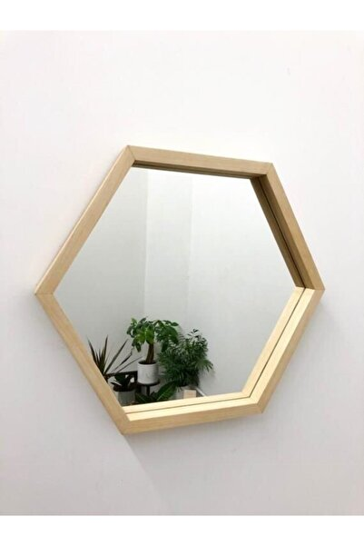 AHŞAP ATÖLYE Masif Ahşap Altıgen Model Dekoratif Ayna