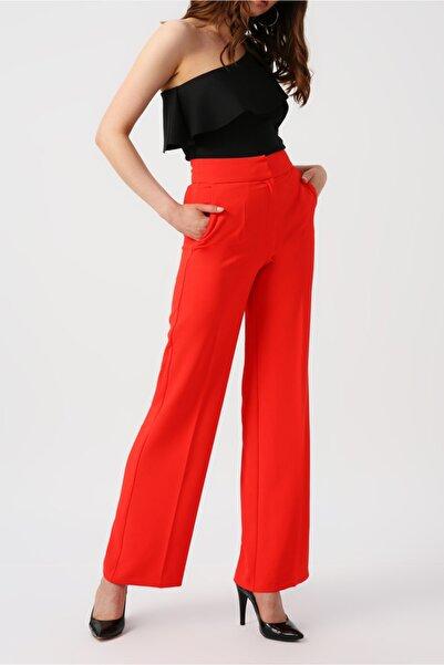 RANDOM Kadın Mercan Yüksek Belli Geniş Kesim Pantolon