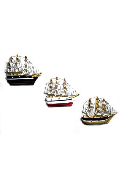 CajuArt Dekoratif Üç Adet Minik Ahşap Gemi Magnet Buzdolabı Süsü