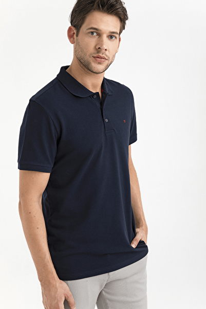 Erkek Lacivert Polo Yaka Düz T-Shirt A01B1175