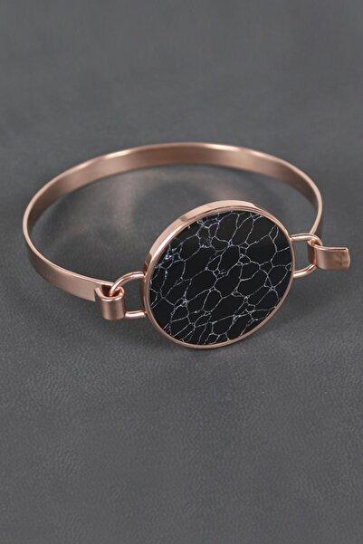 HEDİYELİMANİ Siyah Mermer Tasarımlı Bronz Çelik Bayan Bileklik