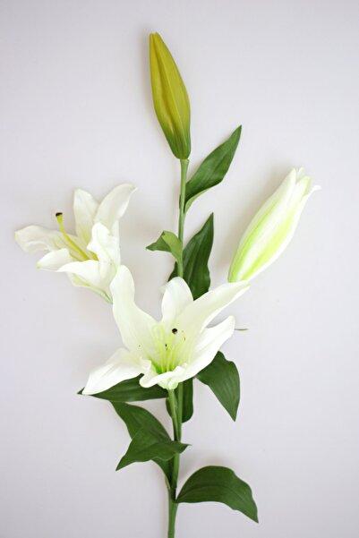 Yapay Çiçek Uzun Dal Lüx 3lü Lilyum 95 Cm Beyaz