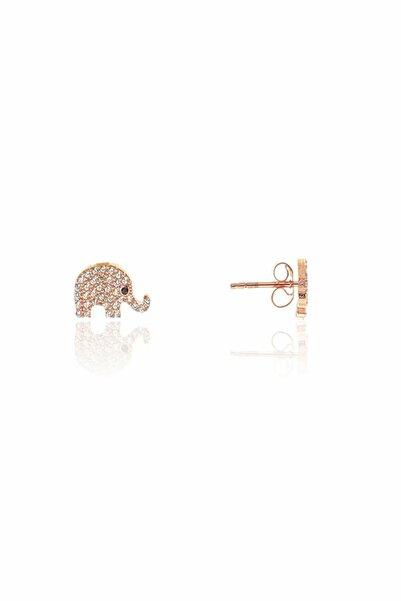 Papatya Silver 925 Ayar Rose Altın Kaplama Zirkon Taşlı Fil Küpe