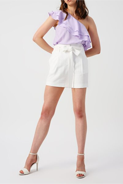 RANDOM Kadın Yakası Fırfırlı Tek Omuzlu Lila Bluz
