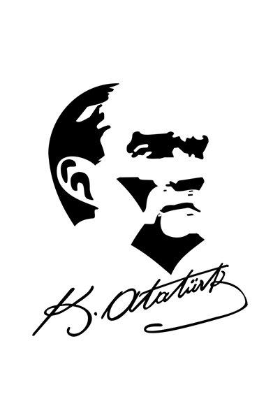 Quart Aksesuar 20 Cm Siyah Atatürk Sticker Silüeti Ve Imza Sticker