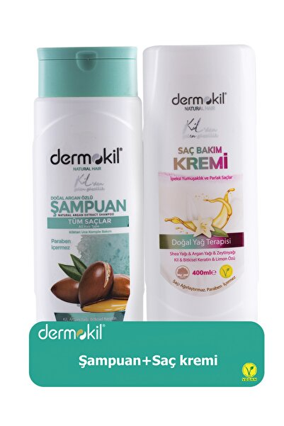 Dermokil Argan Şampuan 400 ml ve Saç Kremi 400 ml 8697916004028
