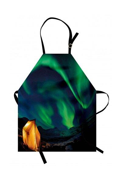 Orange Venue Gökyüzü Mutfak Önlüğü Yeşil Kuzey Işıkları Rengirenk