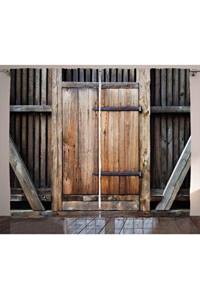 Orange Venue Çizgili Perde Antika Ahşap Kapı
