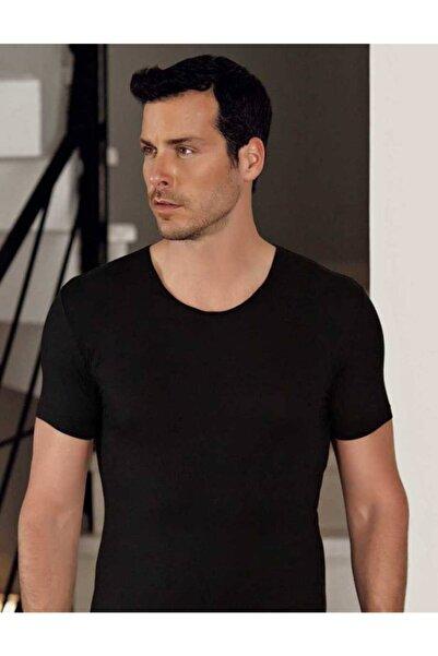 Şahinler Erkek Siyah Bisiklet Yaka Kısa Kollu Modal Erkek T-shirt Me129