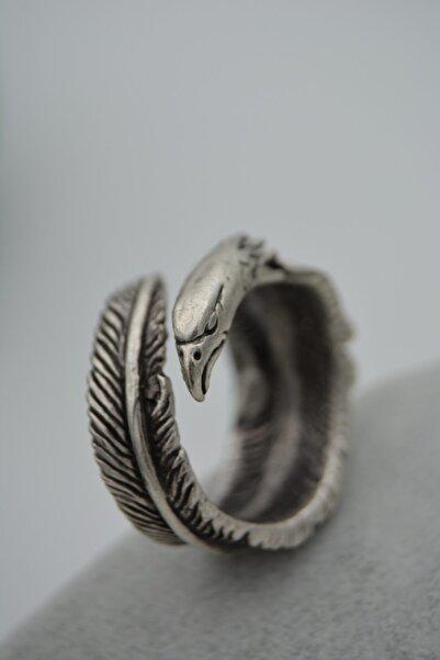 Stoneage Unisex Ayarlanabilen Kartal Ve Tüy Figürlü Bohem Antik Gümüş Yüzük