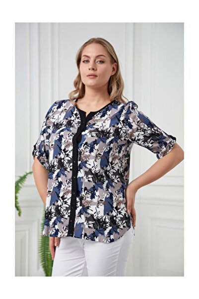 Kol Detaylı Çiçek Desenli Büyük Beden İndigo Gömlek