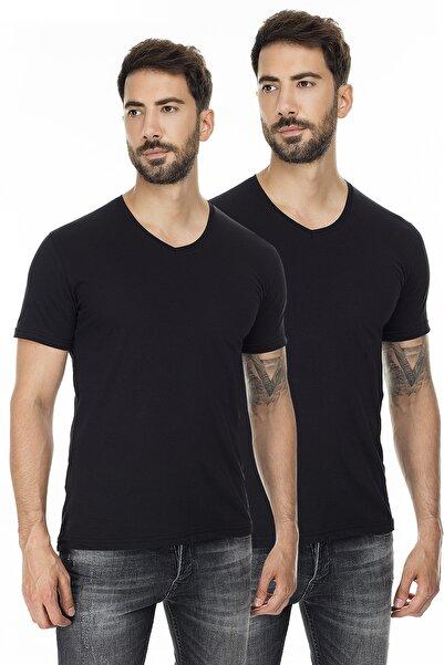 Buratti Erkek SİYAH-SİYAH 2'li Paket V Yaka Slim Fit Pamuklu Basic T Shirt 5722512V2