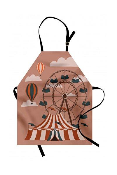 Orange Venue Çocuklar Için Mutfak Önlüğü Sirk Ve Dönme Dolap Desenli