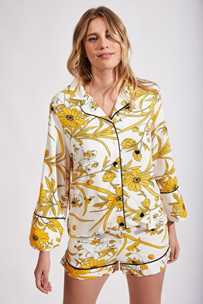 Happiness İst. Kadın Sarı Şortlu Viskon Yazlık Pijama Takımı Fn02209