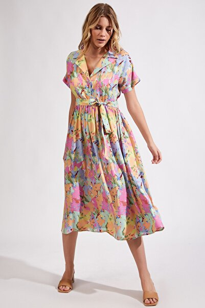 Kadın Pembe Desenli Maxi Viskon Elbise Dd00677