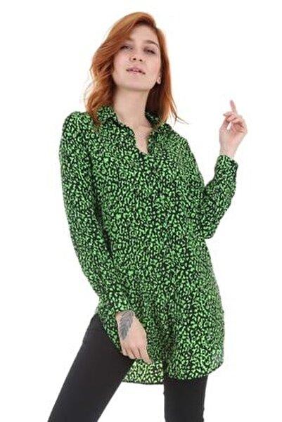 Kadın Desenli Haki Neon Tunik Gömlek 5704bgd19_225
