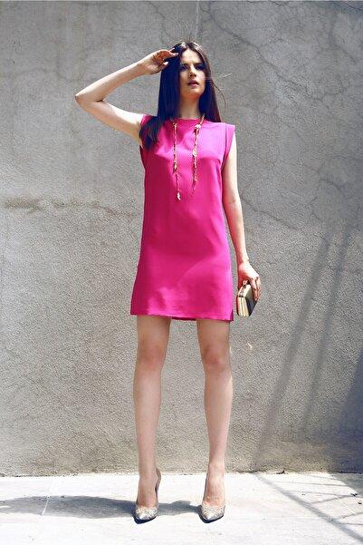 Ece Salıcı Kadın Pembe Bol Kesim, Kolsuz, Mini Elbise