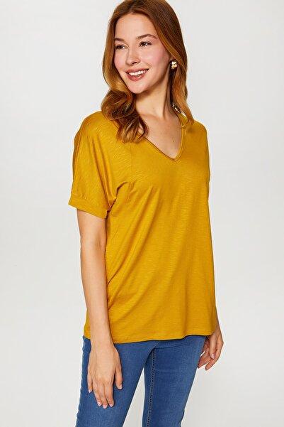 Faik Sönmez Kadın Asit V Yaka T-Shirt 60017 U60017