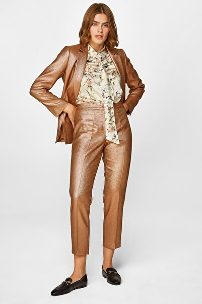 Faik Sönmez Kadın Gold Simli Gold Cigarette Form Gold Pantolon 60594 U60594
