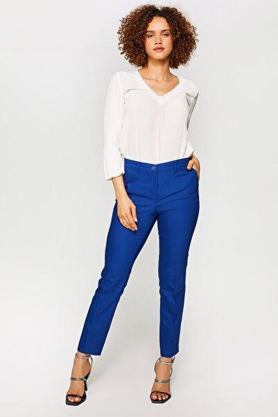 Faik Sönmez Kadın Saks Straight Fit Chino Pantolon 60065 u60065