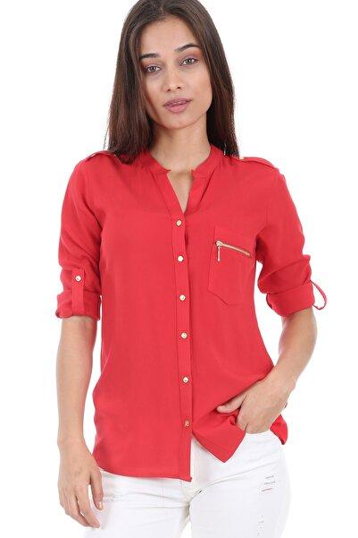 Kadın Kırmızı Tek Cep Fermuarlı Gömlek 3623bgd19_006