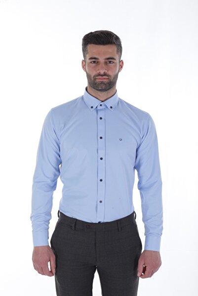 Diandor Uzun Kollu Slim Fit Erkek Gömlek Mavi/Blue 1812020
