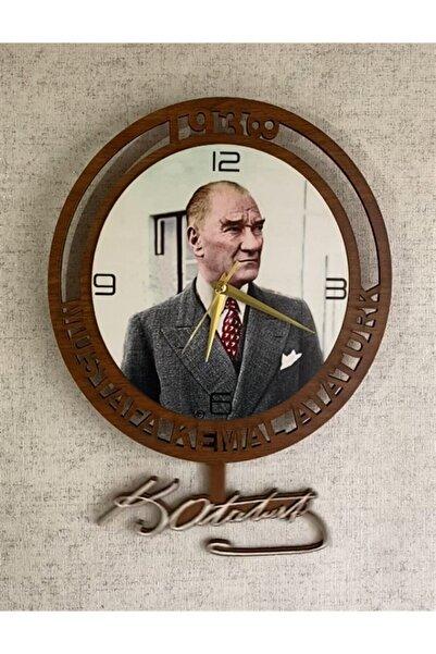Ahşap Sarkaçlı Sallanan Imzalı Mustafa Kemal Atatürk Duvar Saati
