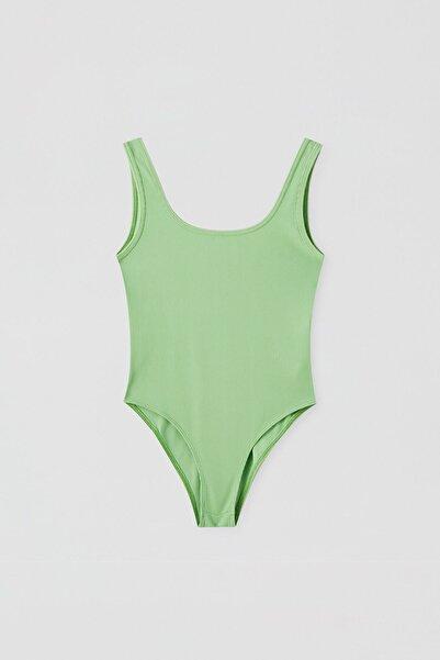 Pull & Bear Kadın Limon Yeşili Basic Streç Askılı Body 05238317