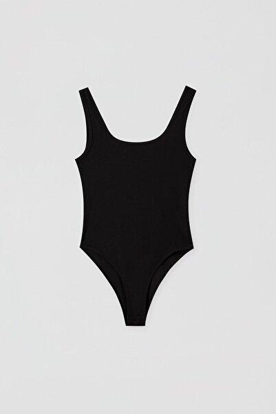 Pull & Bear Kadın Siyah Basic Streç Askılı Body 05238317