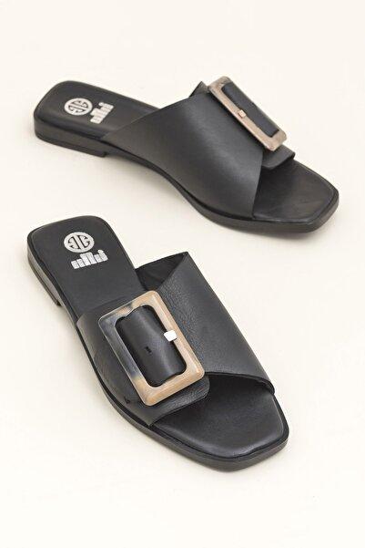 Elle Shoes Hakiki Deri Ulrıka Siyah Kadın  Terlik 20YEK3143715