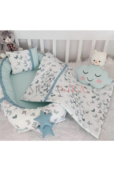 Babynest Gri ve Koyu Yeşil Pikeli Baby Nest Set Bebek Yuvası