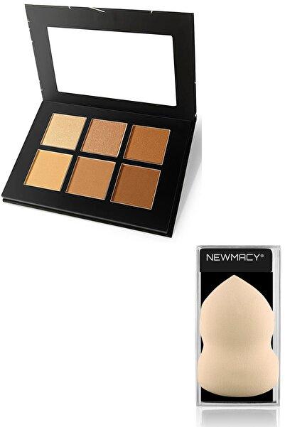Newmacy 6'lı Aydınlatıcı&kontür Paleti - Highlighter&contour Pro 6 Colors Palette 01 + Latex Sünger Hediyeli