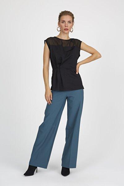 Setre Kadın Siyah  Omuzu Transparan Beli Pensli Kolsuz Bluz ST050W3033901