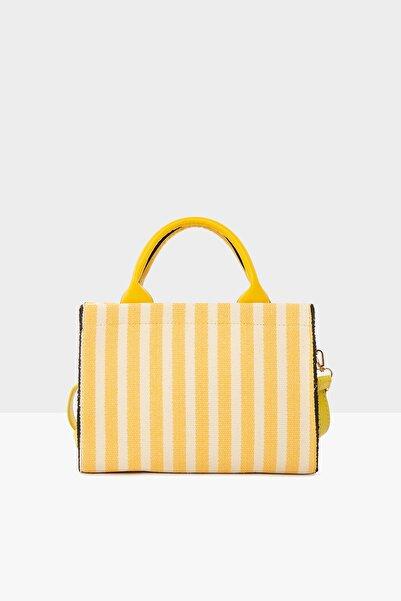 Bagmori Sarı Kadın Çizgili Deri Askılı Çanta M000004740