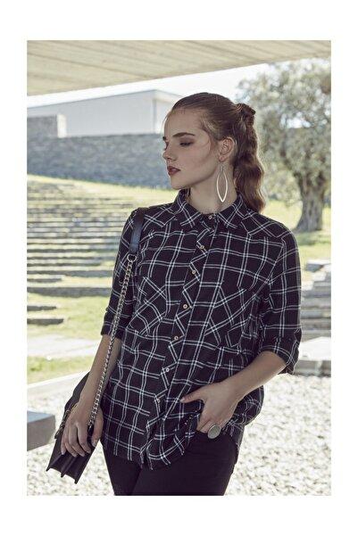RMG Kadın Siyah Kareli Gömlek 6870