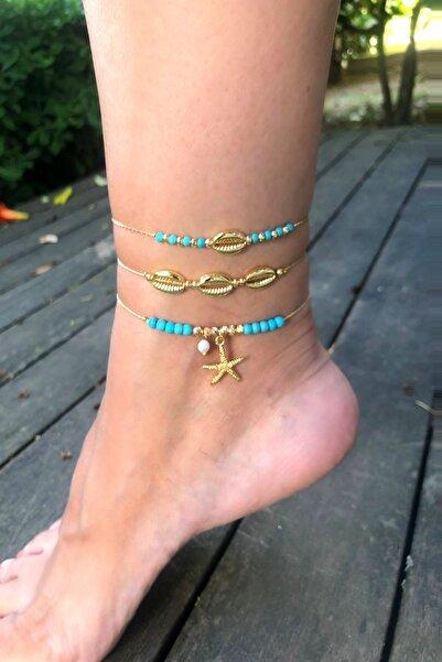 Hane14 Deniz Yıldızı Mavi Boncuklu 3'lü Halhal Gold