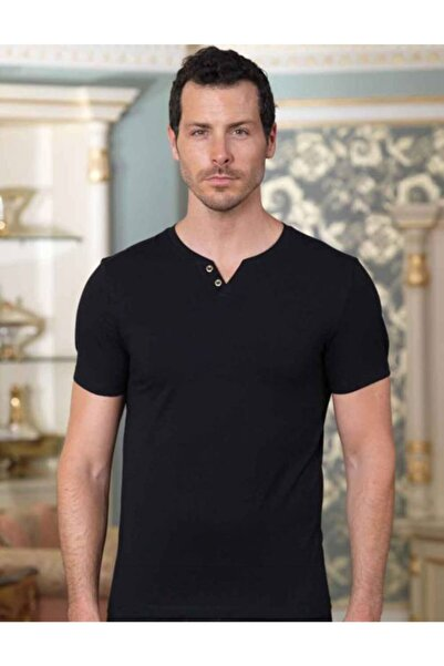 Şahinler Erkek Siyah V Yaka Düğme Detaylı Kısa Kollu T-shirt Me100