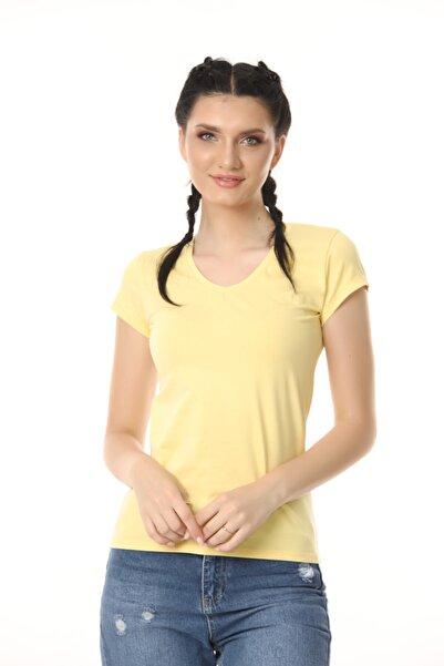 Kadın Sarı V Yaka T-shirt