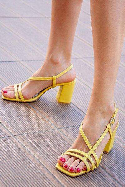 Fox Shoes Sarı Kadın Topuklu Ayakkabı H922741009
