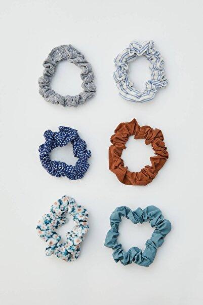 Pull & Bear Kadın Mavi Mini Papatya Desenli Saç Lastiği Paketi 05982349