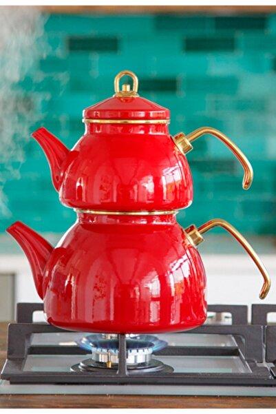 Refikadan Kırmızı Emaye Çaydanlık Sağlıklı
