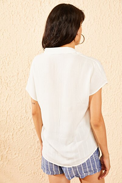 Kadın Beyaz Kısa Kollu Basic Gömlek 10071015