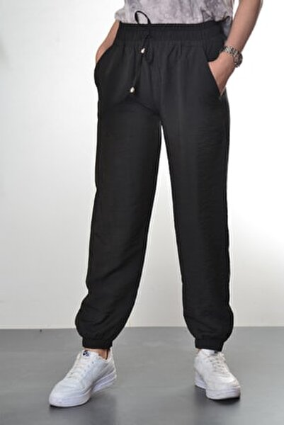 Kadın Siyah Manşet Ve Cep Detaylı Pantolon