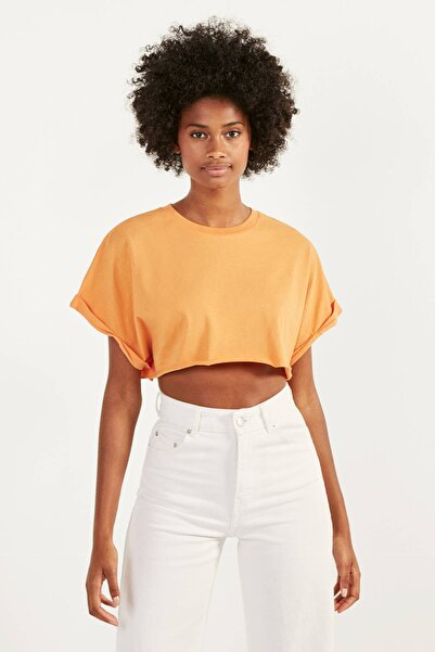 Bershka Kadın Turuncu Super Crop Fit T-Shirt 02259443