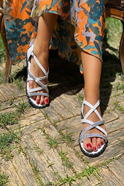 İnan Ayakkabı Beyaz Kadın Sandalet INA336NLT