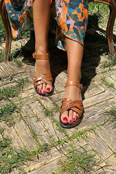 İnan Ayakkabı Taba Kadın Sandalet INA6018SHT