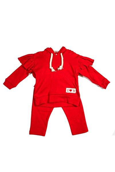 Baby Doss Kız Bebek Kırmızı  Fırfırlı Kapşonlu Takım
