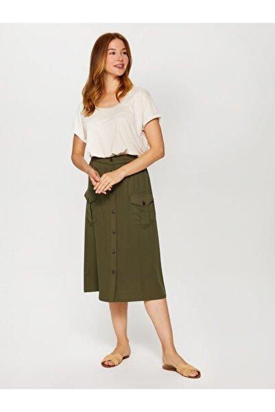 Faik Sönmez Kadın Gri Yuvarlak Yaka T-shirt 60016